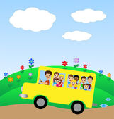 Much little child in yellow bus — Stock Vector