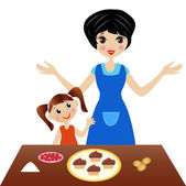 Mother with little daughter prepare delicious cake — Stock Vector