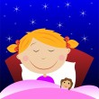 Little girl sleep under blanket with doll — Stock Vector #39820881