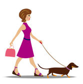 Young woman on walk with dog — Stock Vector