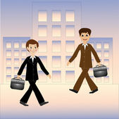 Two business men hurry on work — Stock Vector
