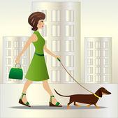 年轻的女子在跟狗散步 — 图库矢量图片