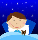 Little boy sleep under blanket with toy bruin — Stock Vector