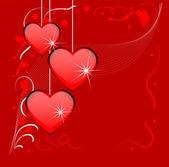 Fond rouge clair avec un cœur — Vecteur
