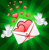 Two white a pigeon is carried envelope with hearts — ストックベクタ