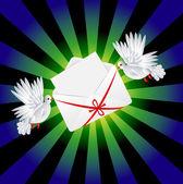 Twee witte een duif is uitgevoerd envelop — Stockvector