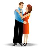 Young loving couple on a white background — Vector de stock