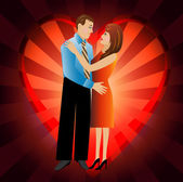 Young loving couple on a background a heart — Vector de stock