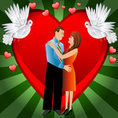 Young loving couple on a background a heart — Cтоковый вектор