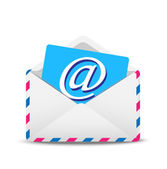 Open envelope air with the icon of electronic letter inwardly — Stock Vector