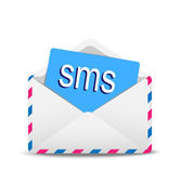 """Open envelope air with text """" SMS"""" inwardly — Stock Vector"""