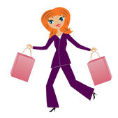 Young business woman hurry with purchase home — Stock Vector