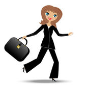 Young business woman hurry on work — Stock Vector