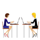 Two business woman work in office — Stock Vector