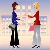 Two business woman speak — Stockvector