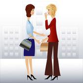 Two business woman speak — Stock Vector