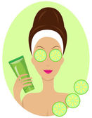 Young woman with cucumbers on eyes  — Stock Vector