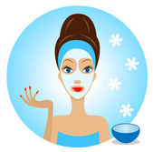 Young woman with a cosmetic mask on face — Vector de stock