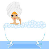 Young woman take a bath with foam — Stock Vector