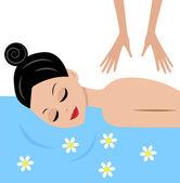 Młoda kobieta masaż — Wektor stockowy