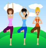 Three young women do physical exercises — Vetorial Stock