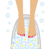 Care of feet, birdbaths with the flowers of camomile — Stock Vector