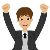 Successful businessman heaving up hands upwards, is glad to vict — Stock Vector
