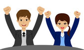 Businessmen heaved up hands upwards and are glad to victory — Stock Vector