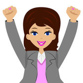 business woman is glad, heaving up hands upwards — Stock Vector