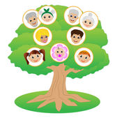Images of family on genealogical tree — Stock Vector