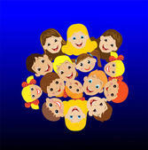 Many children got up in a circle — Vector de stock