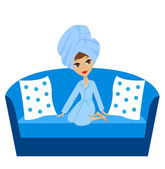 A young woman with a towel on a head sits on a sofa — Stock Vector