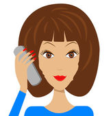 Business young woman with telephone in hand — Stock Vector
