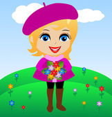 Amusing merry girl with flowers in hands — Stock Vector