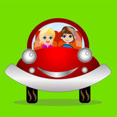 Merry pair in a car on a green background — Stock Vector