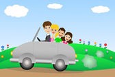 Family goes in a trip on a car — Stock Vector