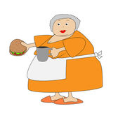 Complete elderly woman with open sandwich and mug in hands — Stock Vector