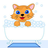 Merry kitten bathes in bath — Vector de stock