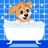 Merry dog bathes in bath — Vector de stock