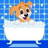 Merry dog bathes in bath — Stock vektor