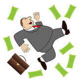 Thick business man is glad to a powerful lot of money — Stock Vector