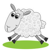 Merry  sheep hurries on a green lawn — Vector de stock