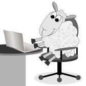 Merry sheep works after a notebook — Vector de stock
