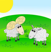 Merry ram and sheep on a green lawn — Stock Vector