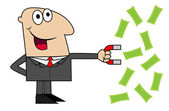 Business man attracts to itself a magnet money — Stock Vector