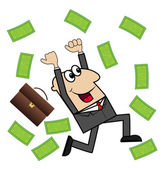 Business man is glad to a powerful lot of money — Stock Vector