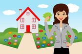 Young woman with money in hands on a background a new house — Stockvector