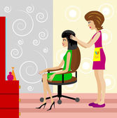Woman in a beauty salon does a hair-do — Stock Vector