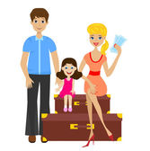 Family sets forth for vacation and sit on suitcases — Stock Vector