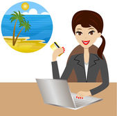 Woman buys a tour in vacation after a credit card — Stock Vector
